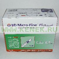 BD Micro-Fine Plus Шприц (3-комп.) 0,3мл U100, интегрир.игла 30G (0,30x8,0) Demi [100шт/уп]