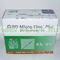BD Micro-Fine Plus Шприц (3-комп.) 0,5мл U100, интегрир.игла 29G (0,33x12,7) [100шт/уп]