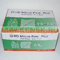 БД Микро-Файн Плюс Шприц (3-комп.) 0,5мл U100, интегрир.игла 30G (0,30x8,0)
