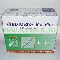 BD Micro-Fine Plus Шприц (3-комп.) 1мл U100, интегрир.игла 30G (0,30x8,0) [100шт/уп]