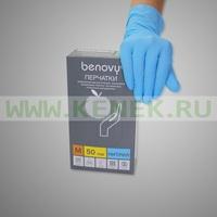 Benovy Перчатки н/ст, нитрил, голубые, 100шт/уп