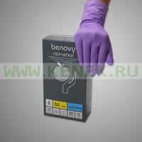 Benovy Перчатки н/ст, нитрил, сиреневые, 100шт/уп