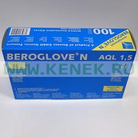 Beroglove Перчатки н/ст, нитрил, текстура на пальцах, PF, голубые, 100шт/уп