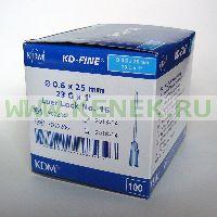 KD-Fine Игла одноразовая инъекционная стерильная 23G (0,6 х 25 мм) [100шт/уп]