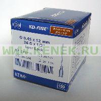 KD-Fine Игла одноразовая инъекционная стерильная 26G (0,45 х 12 мм) [100шт/уп]