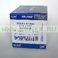 KD-Fine Игла одноразовая инъекционная стерильная 27G (0,4 х 12 мм) [100шт/уп]