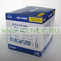 KD-Fine Игла одноразовая инъекционная стерильная 30G (0,30 х 6 мм) [100шт/уп]