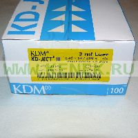 KD-Ject-3 Шприц (3-х комп.) 3мл, игла 23G (0,6х30) [100шт/уп]